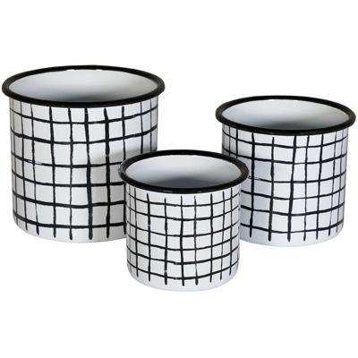 Picture of Set of 3 Black White Metal Containers