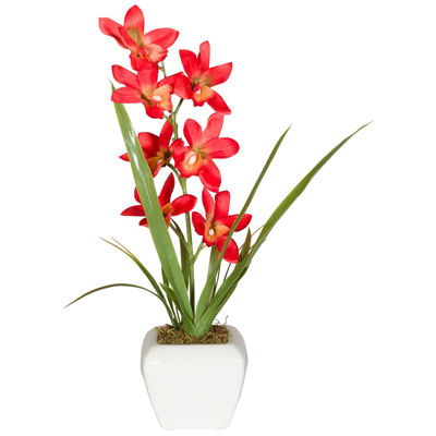 Picture of Red Flowers In White Round Vase