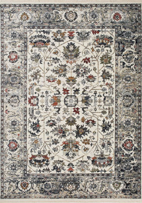 Picture of Serene Cream Blue Red Elegant 5x8 Rug