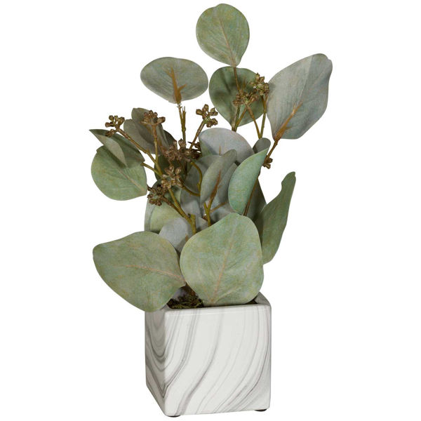 Picture of Leaves In Square White Marble