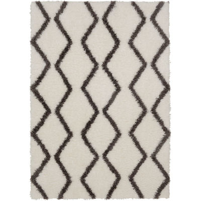 Picture of Pattern Shag Grey On White 8x10 Rug