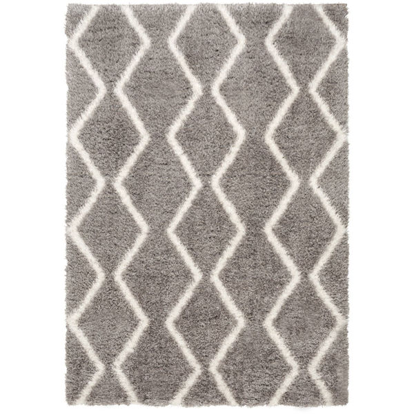 Picture of Pattern Shag White On Grey 8x10 Rug