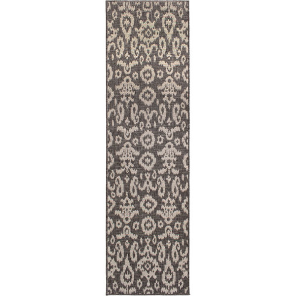 Picture of Easy Clean Grey Ikat 2x7 Rug