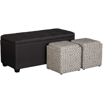 Picture of Charcoal Shoe Storage Bench with 2 Cubes