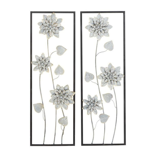 Picture of Floral Gray Metal Wall Decor
