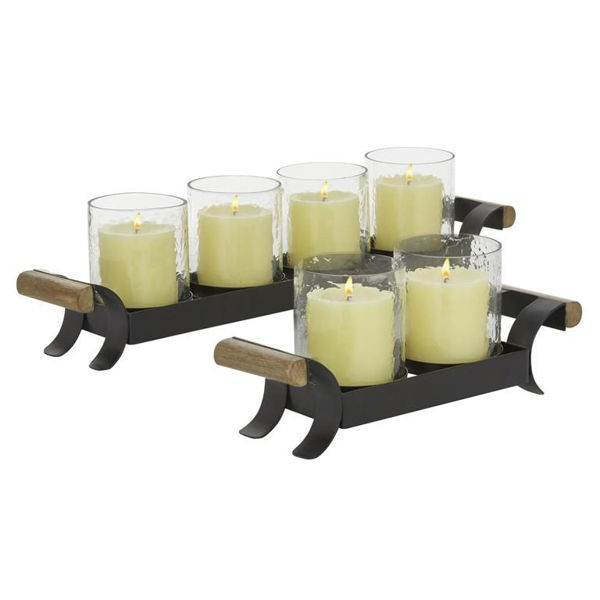 Picture of Metal Wood Glass Candleholder