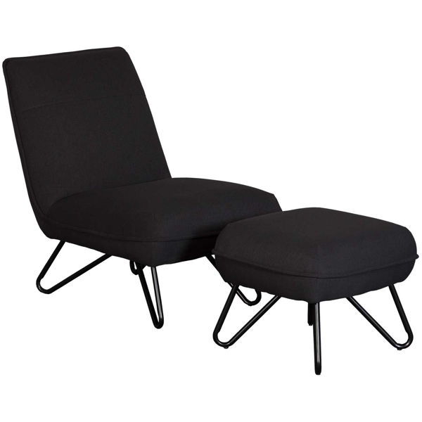 Picture of Cortina Black Armless Chair and Ottoman