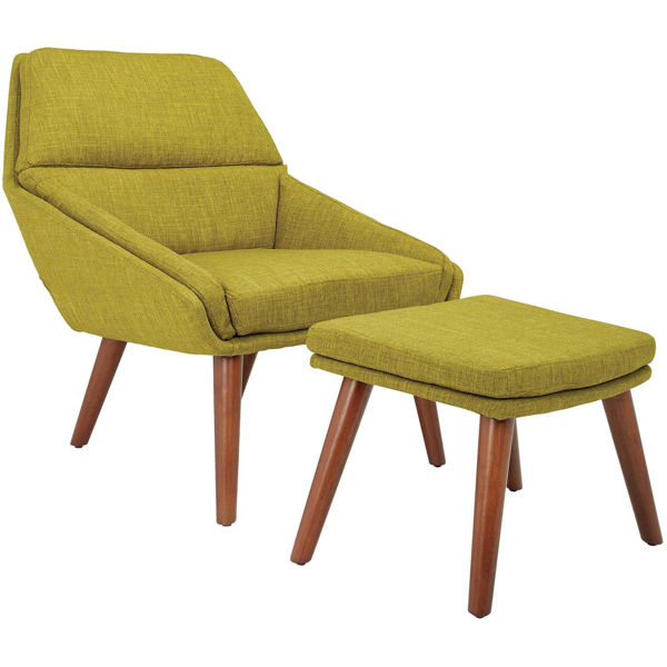 Picture of Bendal Green Modern Accent Chair and Ottoman