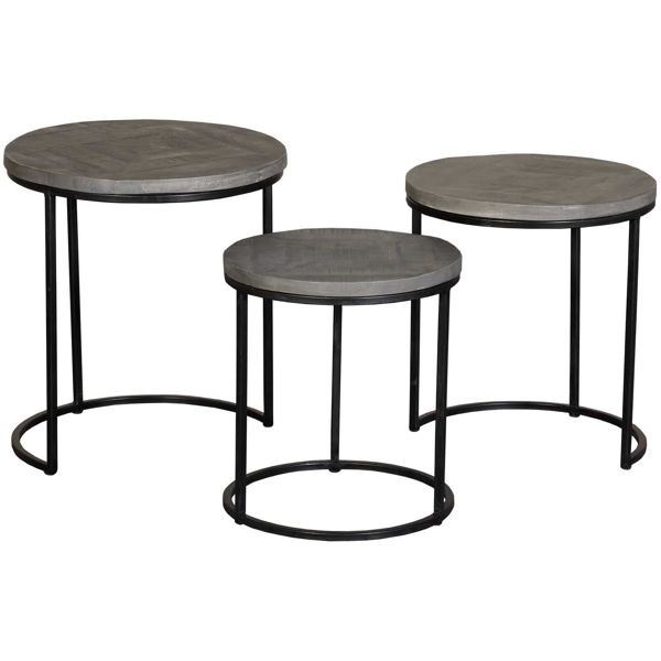 Picture of Grey Vintage Round Nesting Tables, Set of 3