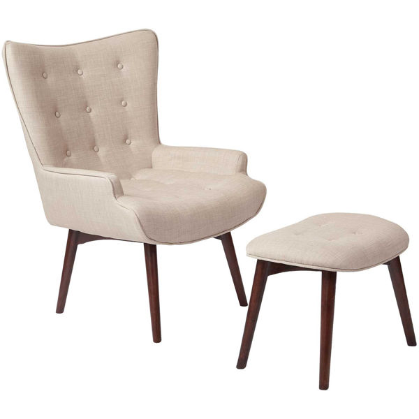Picture of Dalton Beige Tufted Chair and Ottoman