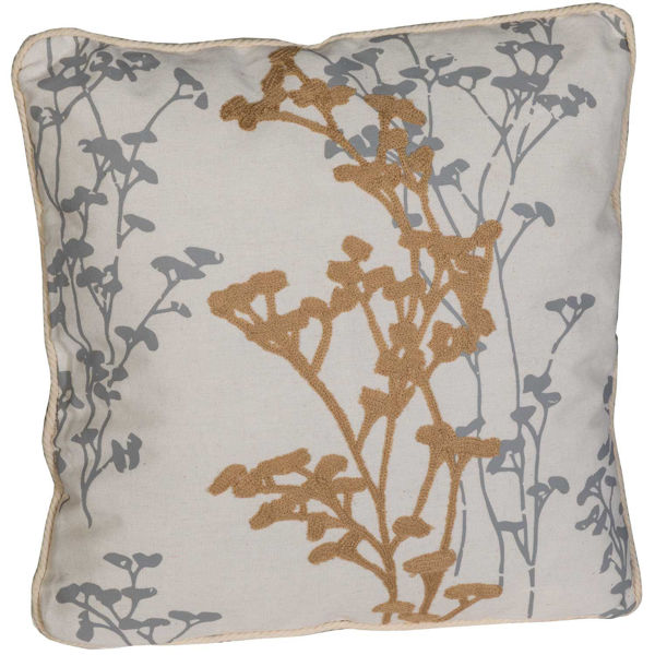 Picture of Gray and Brown Blossom 18x18 Pillow *P