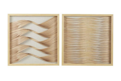 Picture of Set of 2 Wood and Ribbon Shadow Box