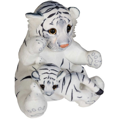 """Picture of 24"""" Soft White Tiger with Baby"""