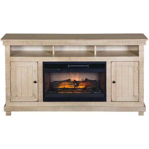 Picture of La Costa White Rustic 60-Inch Fireplace Console