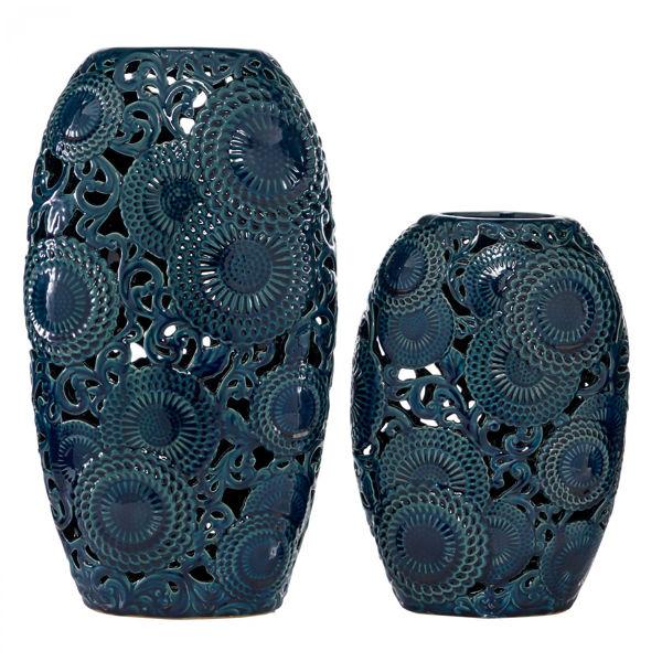Picture of Set of 2 Blue Pierced Vase
