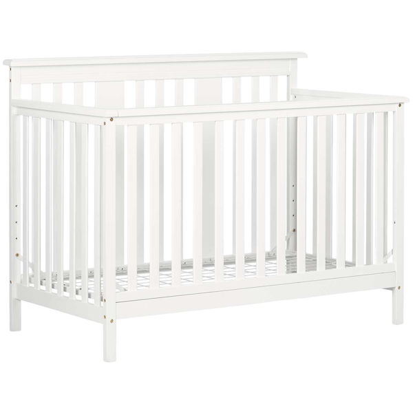 Picture of Pure White Baby Crib 4 Heights With Toddler Rail