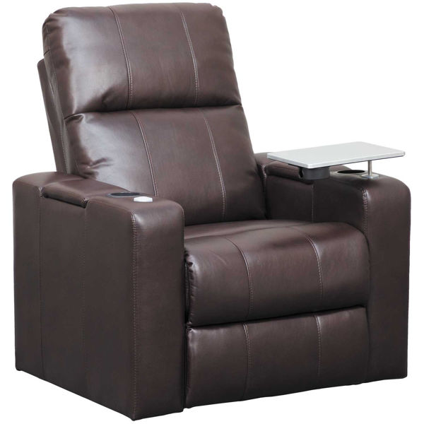 Picture of Brown Power Recliner with Tray