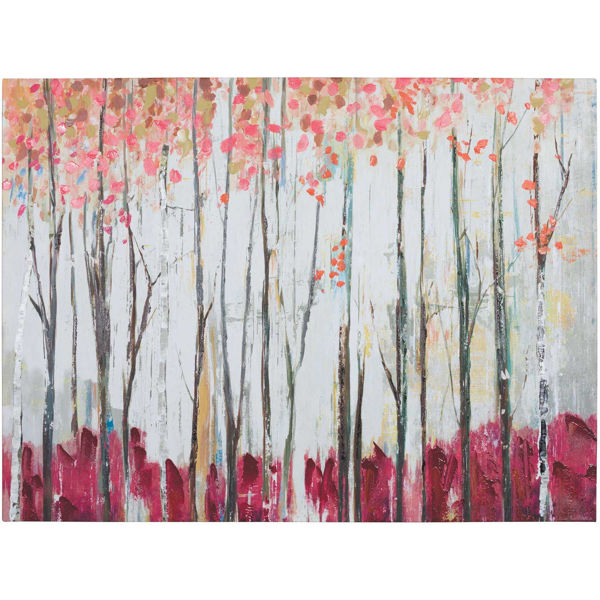Picture of Trees With Red Orange Canvas