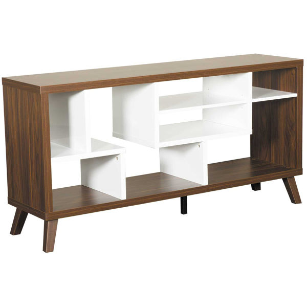 """Picture of 60"""" Puzzle Dark Walnut and White TV Stand"""