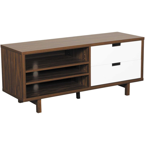 """Picture of 60"""" Dark Walnut and White TV Stand"""