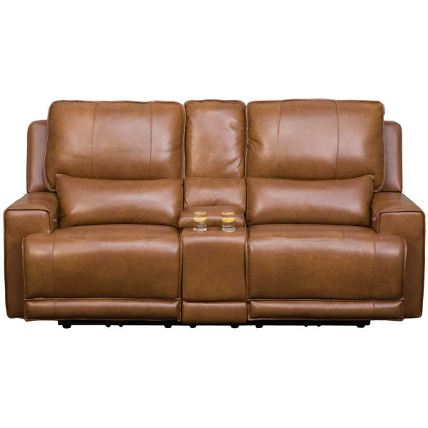 Picture of Rhen Leather P2 Reclining Console Loveseat