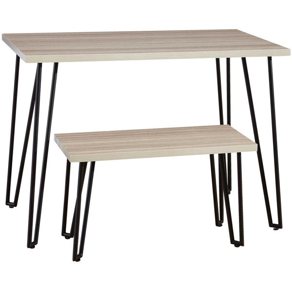 Picture of Blariden Natural and Black Desk with Bench