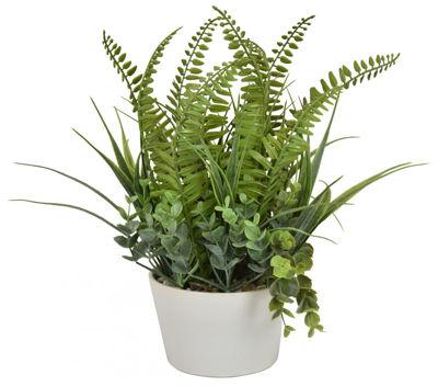 Picture of Faux Fern/Succulent White Pot