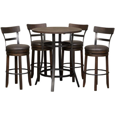 Picture of Metroflex 5 Piece Set With Swivel Barstools with b