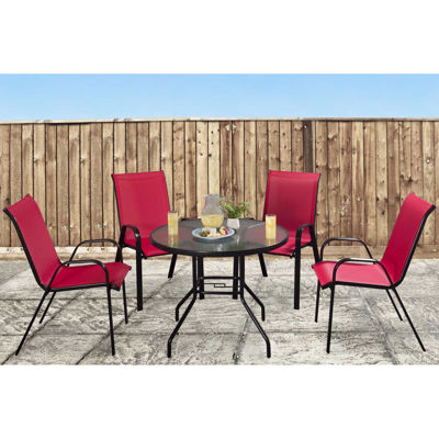 Picture of Beverly 5 Piece Set Round Table Red Chairs