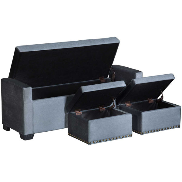 Picture of 3 Piece Gray Storage Bench