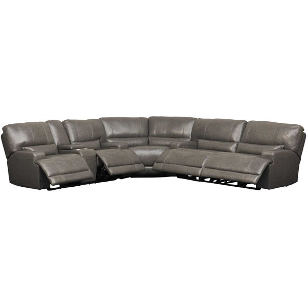 Picture of Jax Gray 3 PC Leather Power Recline Sectional