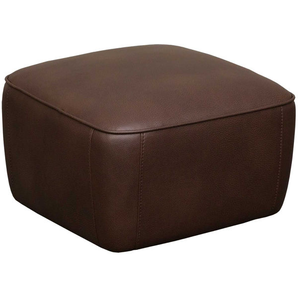 Picture of Chocolate Fabric Rivet Ottoman