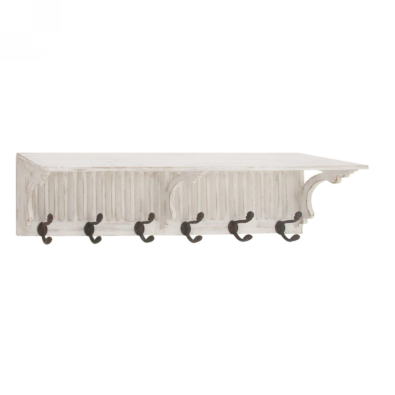 White Shelf With Hooks