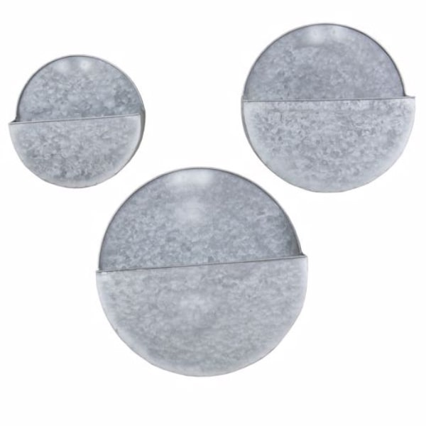 set of 3 metal wall planters