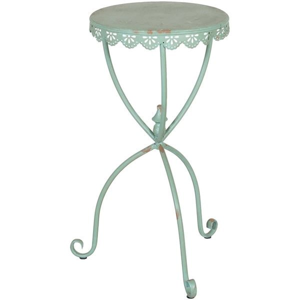 green metal accent table
