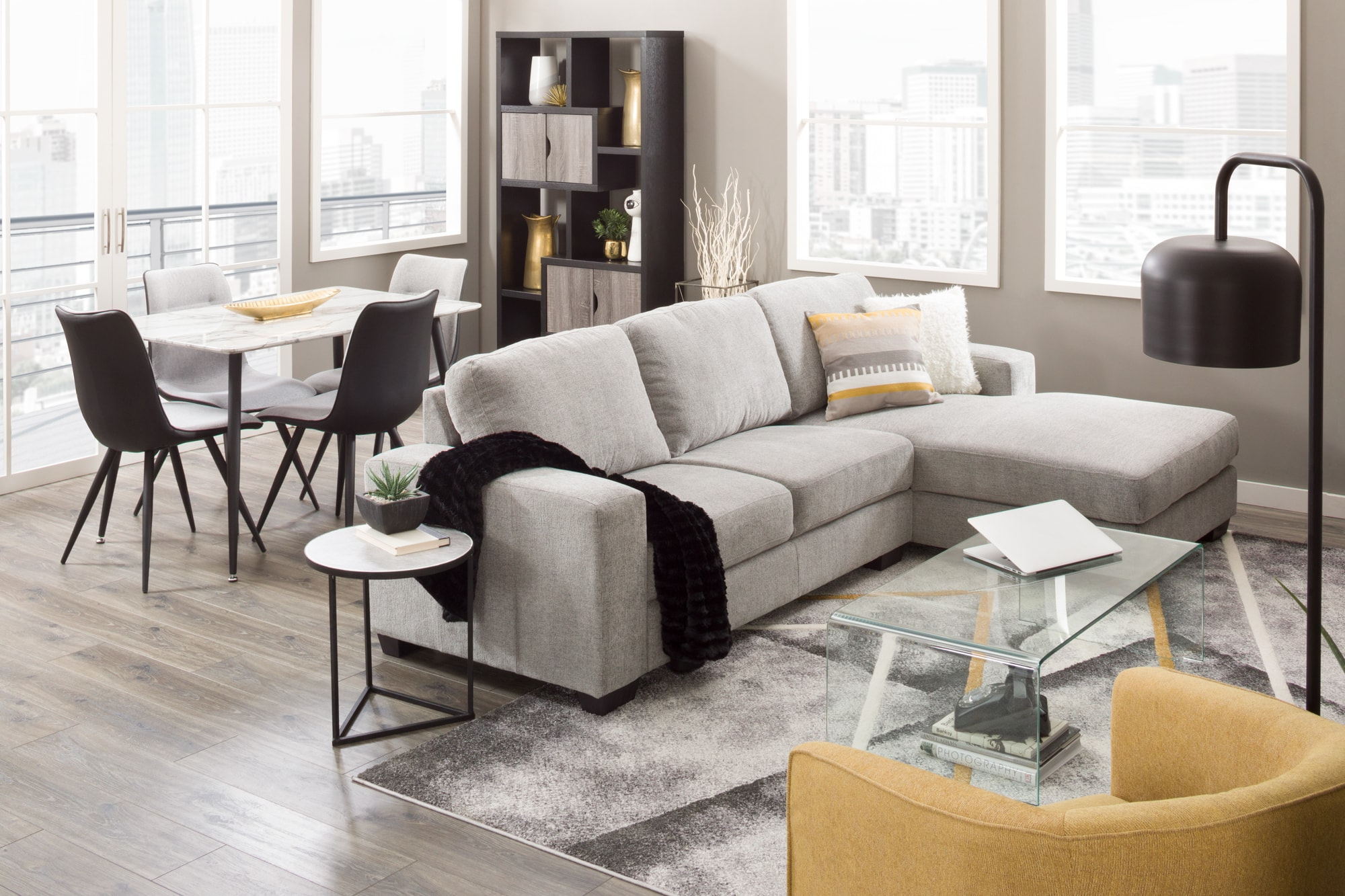 Sectional with table and chairs