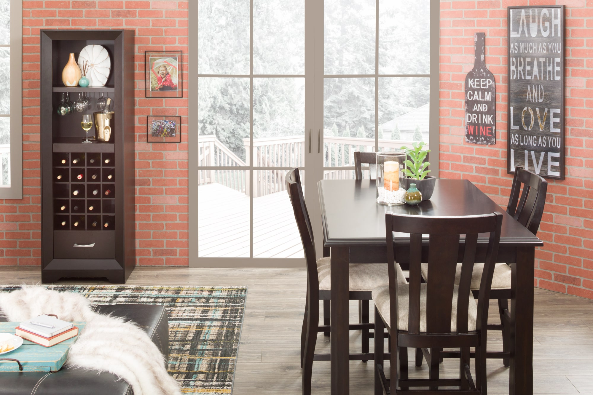A space with a wine pier and a counter height table