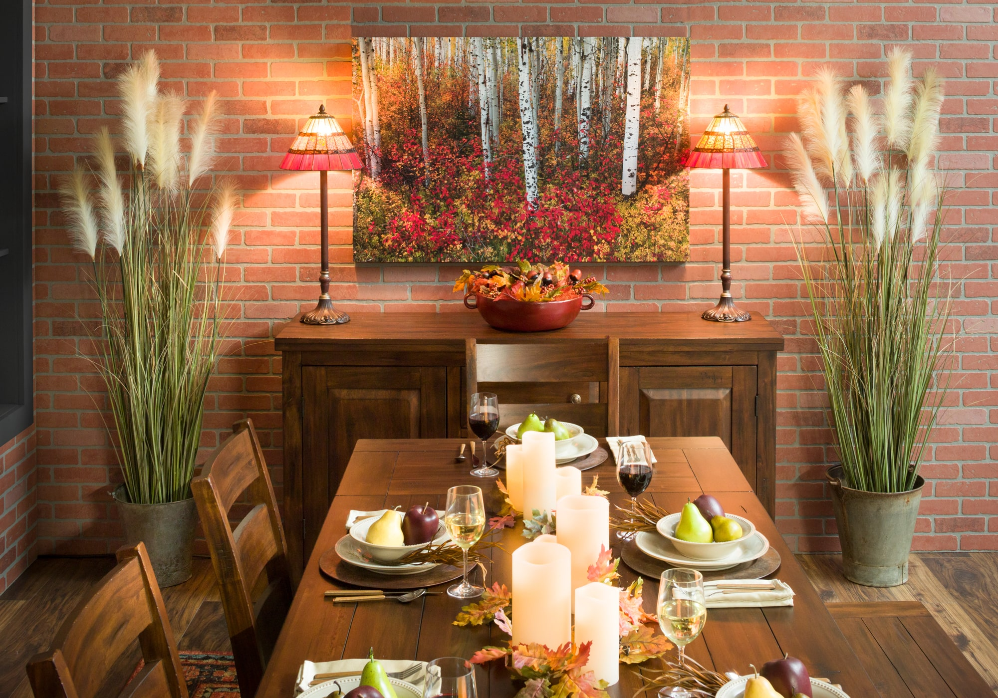 Dining server with lamps and fall decor