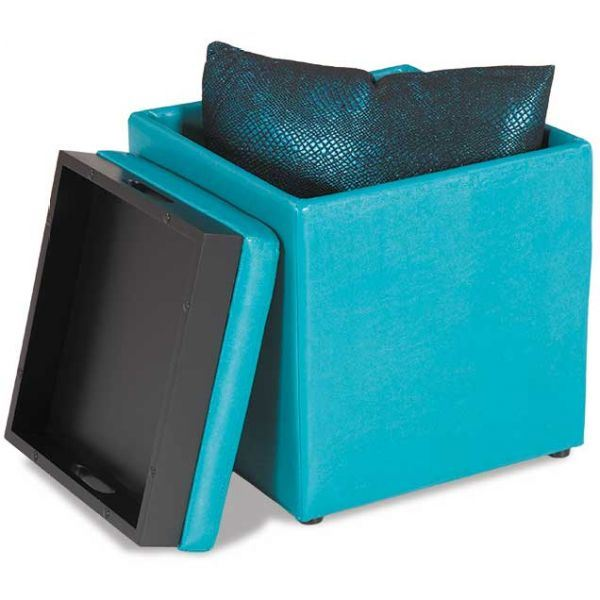 Open storage ottoman with tray