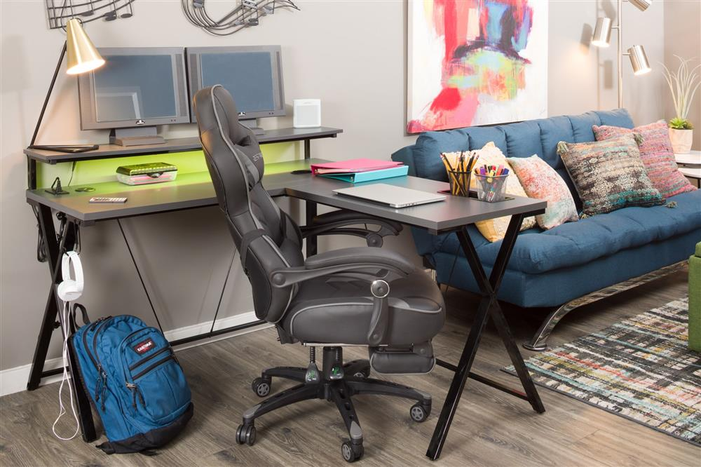 Desk area with L-shaped desk