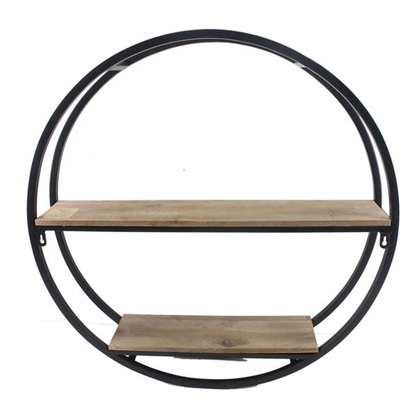 Round Wood Metal Shelf