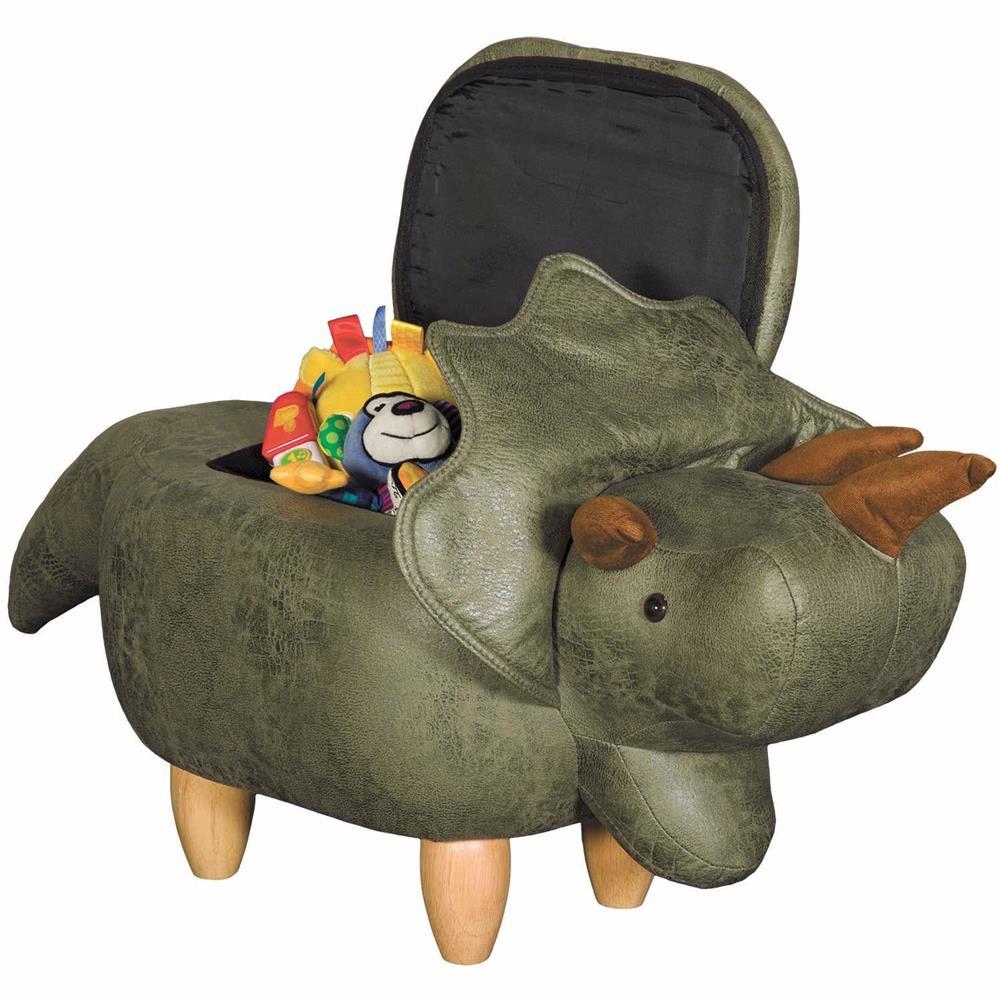 Open dinosaur storage ottoman