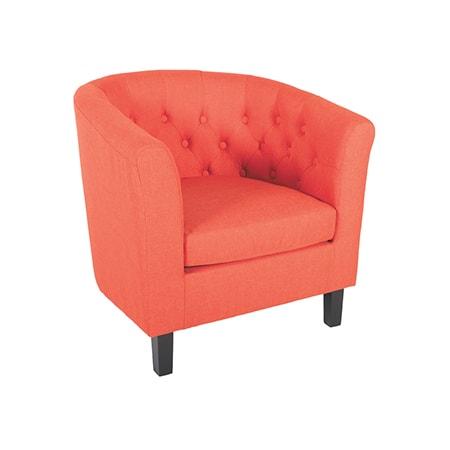Mallory Orange Tufted Tub Chair